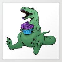 Dino Eats a Cupcake Art Print