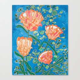 Four Orange Proteas Canvas Print