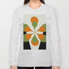 Mid-Century Modern Art 1.4 - Green & Orange Flower Long Sleeve T-shirt