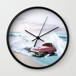 Pink Vintage Car Wall Clock