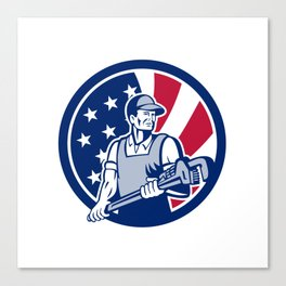 American Plumber and Pipefitter USA Flag Icon Canvas Print