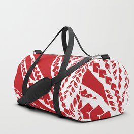 Red Polynesian Geometric Floral Chic Tribal Tattoo Duffle Bag