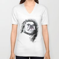 bulldog V-neck T-shirts featuring Bulldog by kitara