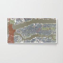 New York city map engraving liberty Metal Print