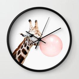 Giraffe with pink bubble gum Wall Clock