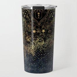 Stylish Gold floral mandala and confetti Travel Mug