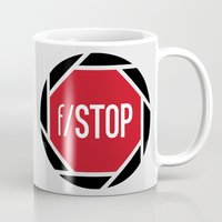 aperture Mugs featuring f/STOP SIGN by Sandhill