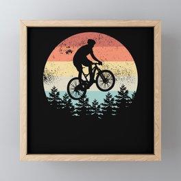 Mountain Biking Sunset Cyclist MTB Gift Framed Mini Art Print
