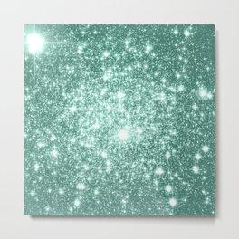 Seafoam Blue Glitter Metal Print