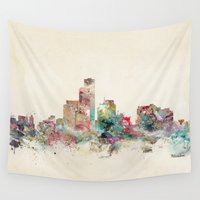 wisconsin Wall Tapestries featuring milwaukee wisconsin skyline by bri.buckley