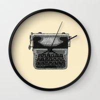 typewriter Wall Clocks featuring Typewriter by Mr. Gentle