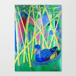 La Papera nello Stagno al Tramonto (Duck in a Pond at Sunset) Canvas Print