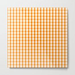 Pumpkin Orange and White Gingham Check Metal Print