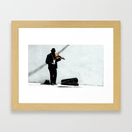 A Violinist Plays on the Streets of Barcelona Framed Art Print