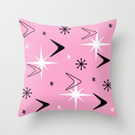 Vintage 1950s Boomerangs and Stars Pink Throw Pillow