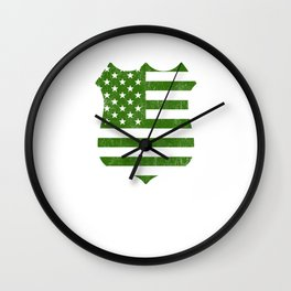 Thin Blue Line Irish American Flag Police Shield print Wall Clock