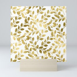 Gold Leaves on White Mini Art Print