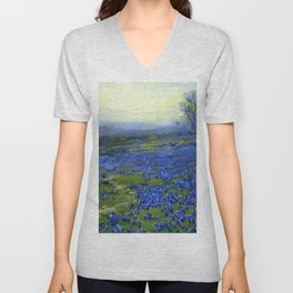 Meadow of Wild Blue Irises, Springtime by Maria Oakey Dewing Unisex V-Neck