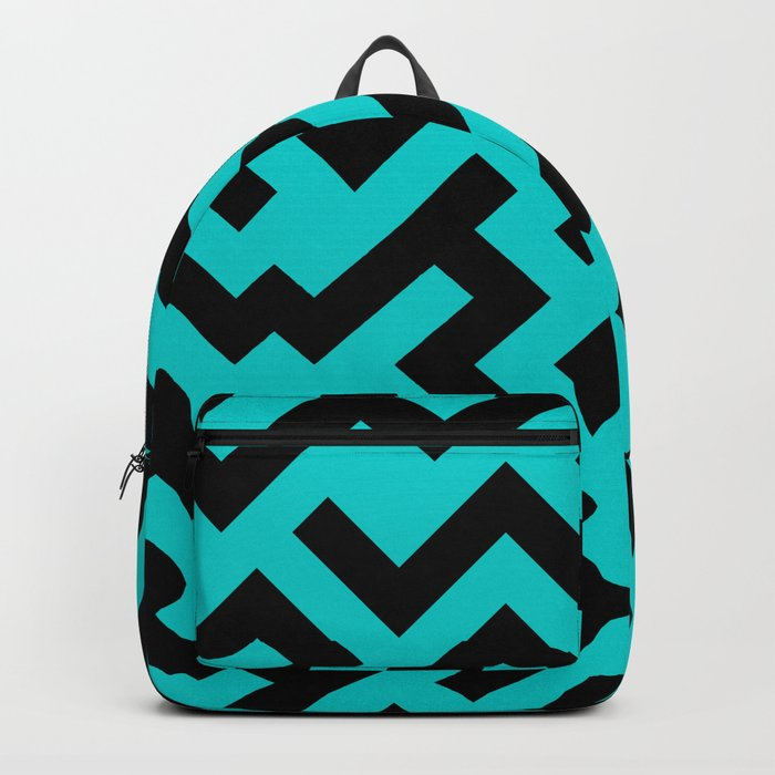 Black and Cyan Diagonal Labyrinth Backpack
