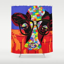 Spectacled Cow Shower Curtain