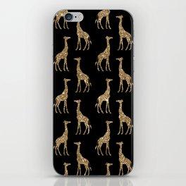Black Gold Glitter Giraffe Pattern iPhone Skin