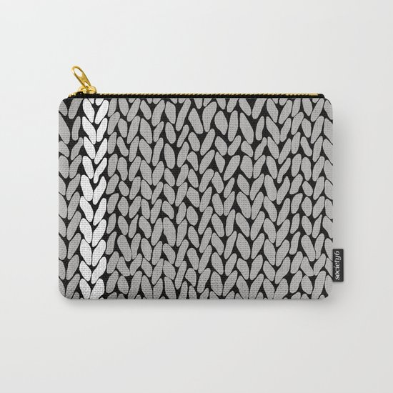 Grey Knit With White Stripe Carry-All Pouch