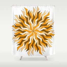 Orange Lightning Wheel Shower Curtain