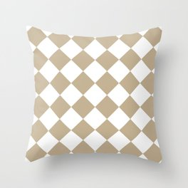 Large Diamonds - White and Khaki Brown Throw Pillow