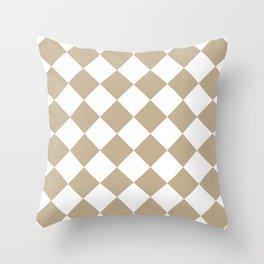Large Diamonds - White and Khaki Brown Throw Pillow