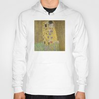 gustav klimt Hoodies featuring The Kiss - Gustav Klimt by Elegant Chaos Gallery