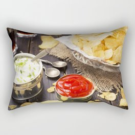 Potato chips with dipping sauces on a rustic table Rectangular Pillow