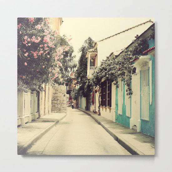 Just like a dream street, Cartagena (Retro and Vintage Urban, architecture photography) Metal Print