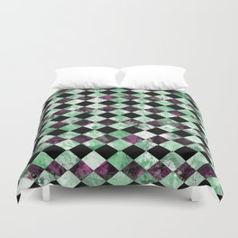 Diamond Pattern In Green, Black And Purple Duvet Cover