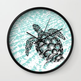 Sea turtle print in black and white Wall Clock