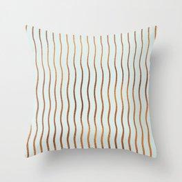 Mint Green Rose Gold Stripes Throw Pillow