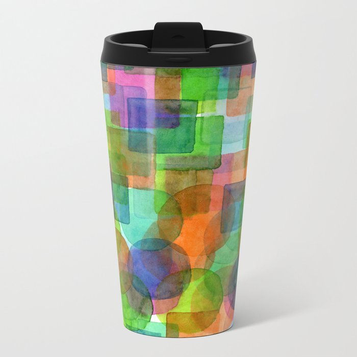 Befriended Squares and Bubbles Metal Travel Mug