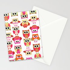 Funny cute hot pink yellow owl pattern Stationery Cards