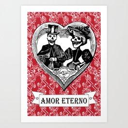 Amor Eterno | Eternal Love | Calavera Couple | Red | Black | Art Print