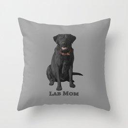 Dog Mom Black Labrador Retriever Throw Pillow