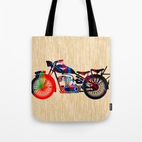 motorcycle Tote Bags featuring Motorcycle by marvinblaine