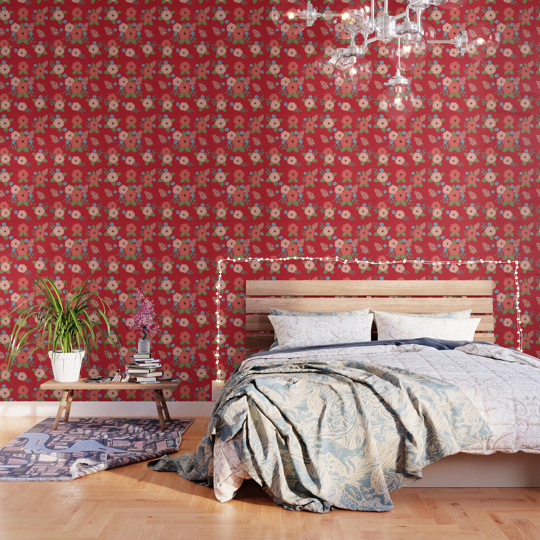 Flower Pattern Pink Blue Flowers On Red Vintage Floral Design