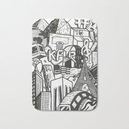 Black and White Graffiti Style Wall Art Bath Mat