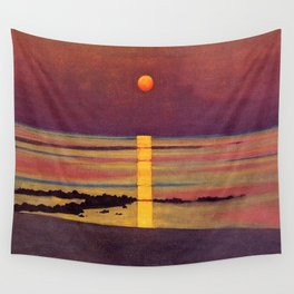 Sunset at the Beach landscape painting by Félix Vallotton Wall Tapestry