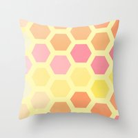 honeycomb Throw Pillows featuring Honeycomb by MisfitIsle