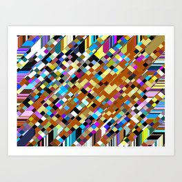 geometric square pixel pattern abstract background in brown yellow blue pink Art Print