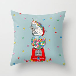 Unicorn Gumball Poop Throw Pillow