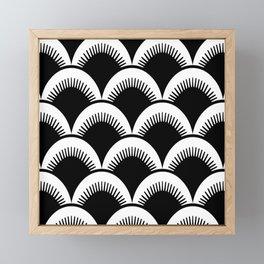 Japanese Fan Pattern Black and White Framed Mini Art Print