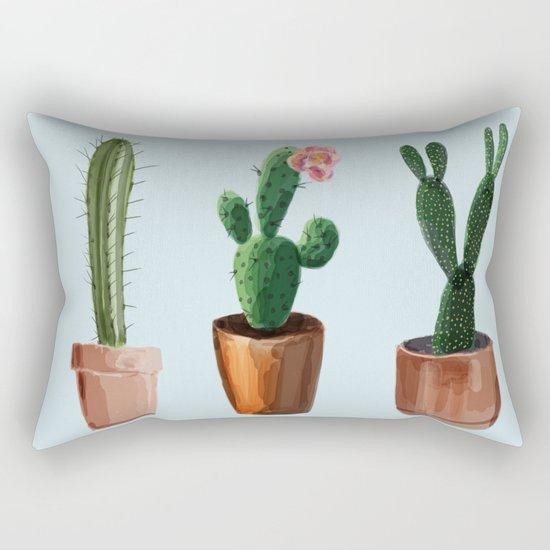 Three Cacti On Light Blue Background Rectangular Pillow