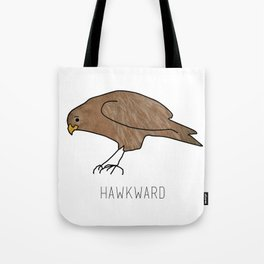 Hawkward Animal Pun Tote Bag