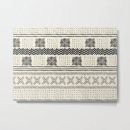 Mud Cloth Geometric Stripe in Cream Metal Print